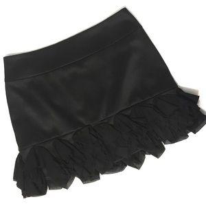Express Skirts - Express Design Studio Black Satin & Ruffle Skirt